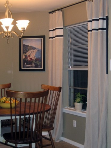 No Sew Curtains With Stripe Dining Room