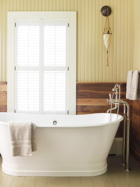 Instead of classic white, subtly punch up bath color with painted beaded board. The material is easy to paint, and you don't have to commit color to the whole room. For an extra splash of personality, the homeowners chose to put painted beaded board on the top half of the walls in this comfy cottage bathroom.: Interior, Bath Tubs, Bathtubs, Bathroom Ideas, Beaded Board Bathroom, Wood Wall, Bathroom Window, Design, Bathtub 3