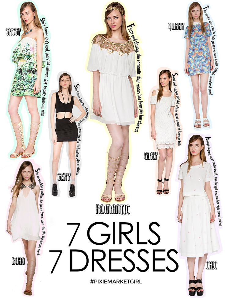 Pixie Market SUB: 7 Girls 7 Dresses 7 tipologie di look interpretate in modo assolutamente irresistibile!