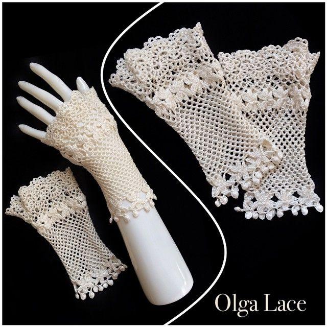 "55 Likes, 3 Comments - Olga Lace (@olgalace_fashiondesigner) on Instagram: ""Fashion Designer Olga Lace Кружевные перчатки без пальцев. Митенки.  #crochet #olgalace #designer…"""
