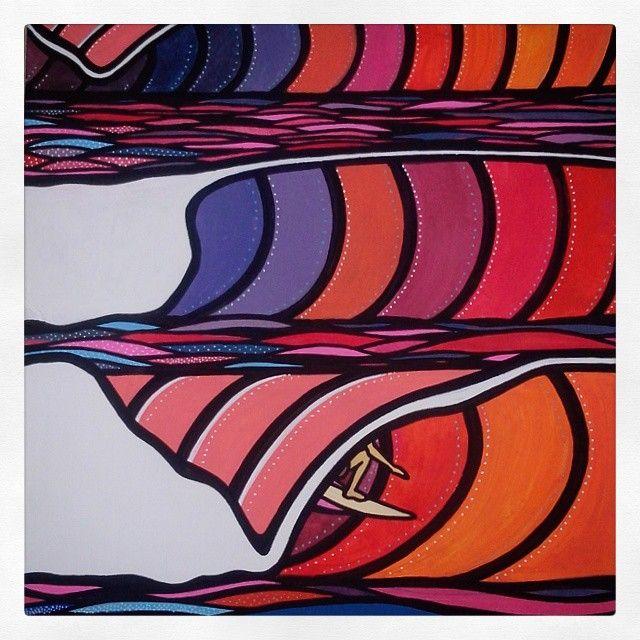 """""Tubo no inside"" ""Inside barrel"" Art by Marcos Mota Acrilica sobre papel Acrylic on paper 33 x 41 cm #surfart #tubo #barrel #left #point #colors #sunset…"""