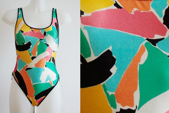 Costume intero sgargiante anni 80 brand M., costume da bagno colorato vintage…