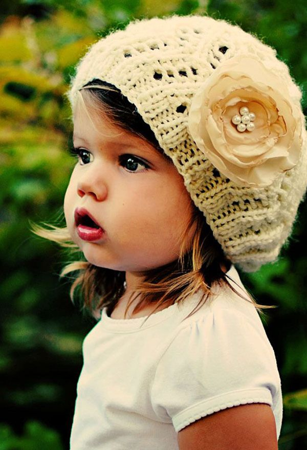 Sweet hat on a darling little face~ #crochet #hat #darling