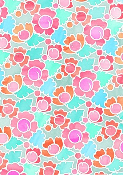 Pastel Tropical Floral Pattern Design with watercolor texture Art Print