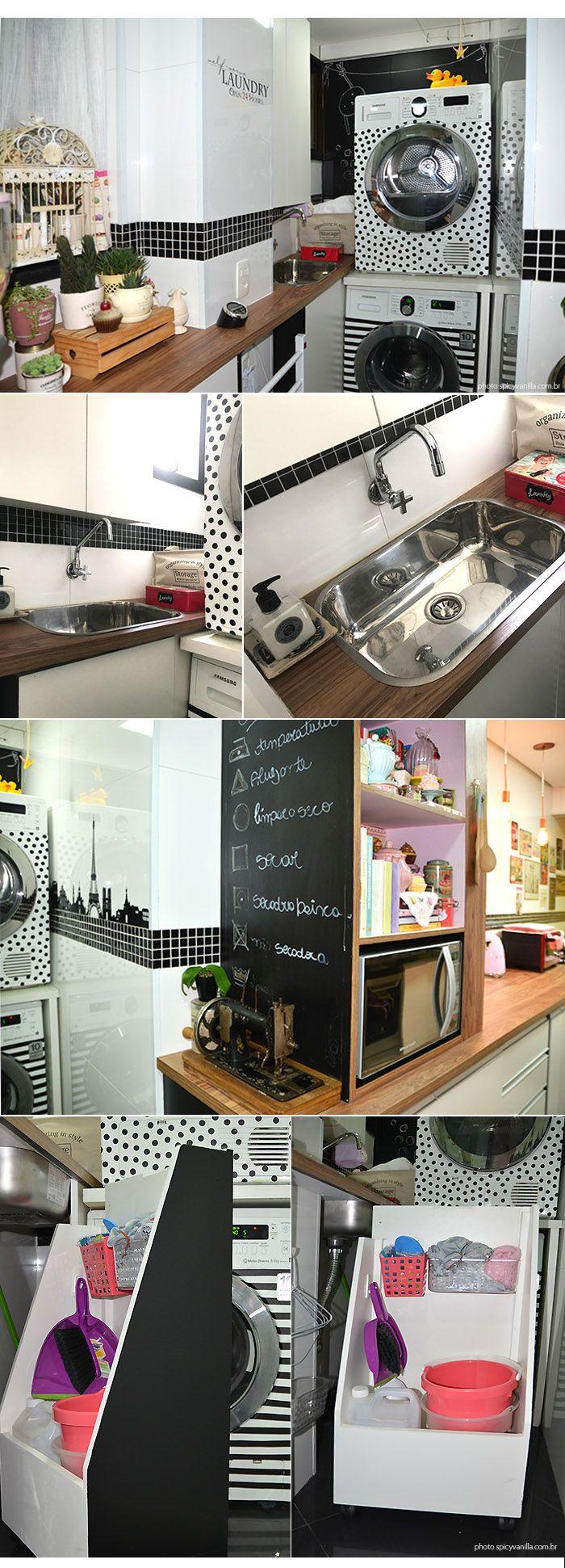 Siga @makeupatelier Tour pela minha nova cozinha / lavanderia | Estilo retrô, tons pastel, geladeira rosa.  Veja o tour em vídeo e mais fotos aqui: http://www.makeupatelier.com.br/2017/07/tour-pela-minha-nova-cozinha-estilo-retro-tons-pastel-geladeira-rosa-e-muitas-fofuras/  #kitchen, retrô, vintage, rosa, pink, antiga, cozinha,decor, decoração, dicas,kitchenaid,smeg,