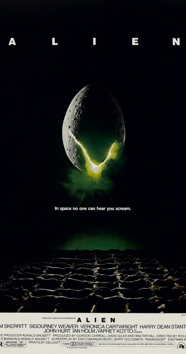 Directed by Ridley Scott.  With Sigourney Weaver, Tom Skerritt, John Hurt, Veronica Cartwright. After a space merchant vessel perceives an unknown transmission as a distress call, its landing on the source moon finds one of the crew attacked by a mysterious life-form, and they soon realize that its life cycle has merely begun.