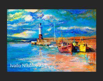 SEASCAPE PAINTING Modern Art Contemporary Seascape Modern Art Deco Oil Painting On Canvas By Ivailo Nikolov