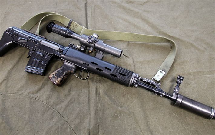 Download wallpapers Dragunov SVU, SVU-AS, SVD sniper rifle, bullpup configuration, Sniper rifle, combat weapons, Russian rifles