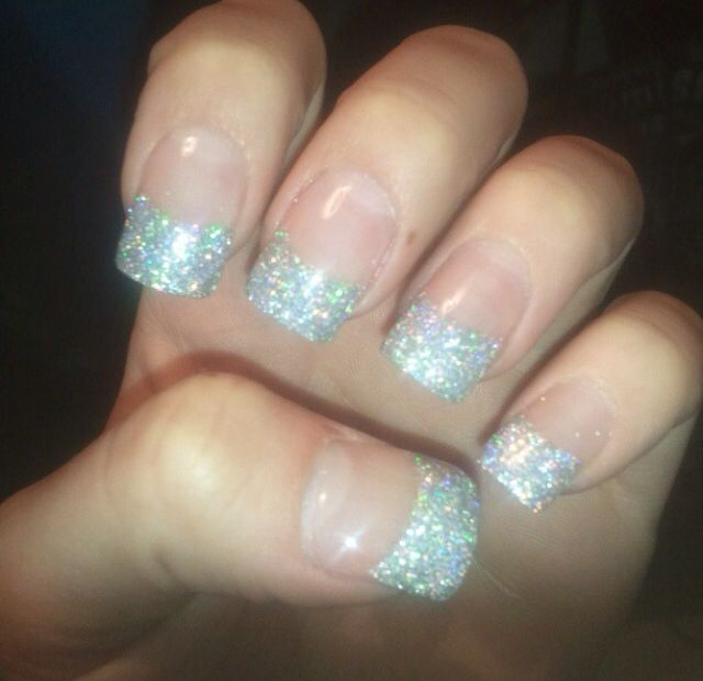 Silver glitter French tip acrylic nails | Nails | Pinterest