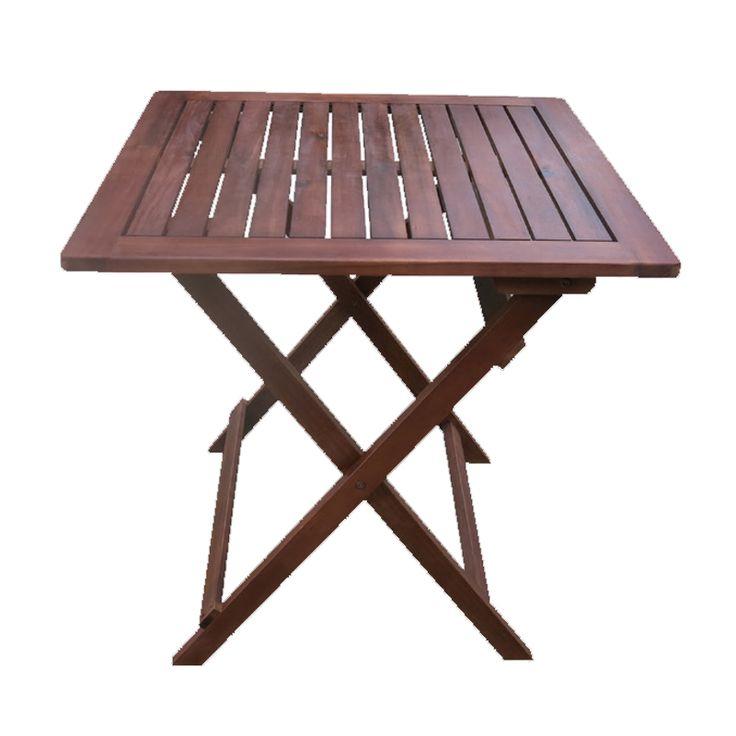 Easy garden food table folding acacia 60x60x70