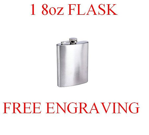 Stainless steel flask free engraving custom by PresentsForever, $12.95