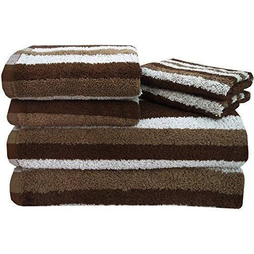 Brown Stripe Towel Set 27 X 52 Bath Towels Light Brown White Striped Yarn Dyed Extra Soft Super Absorbent Modern Stylish Elegant Gorgeous Guest Towels Cotton