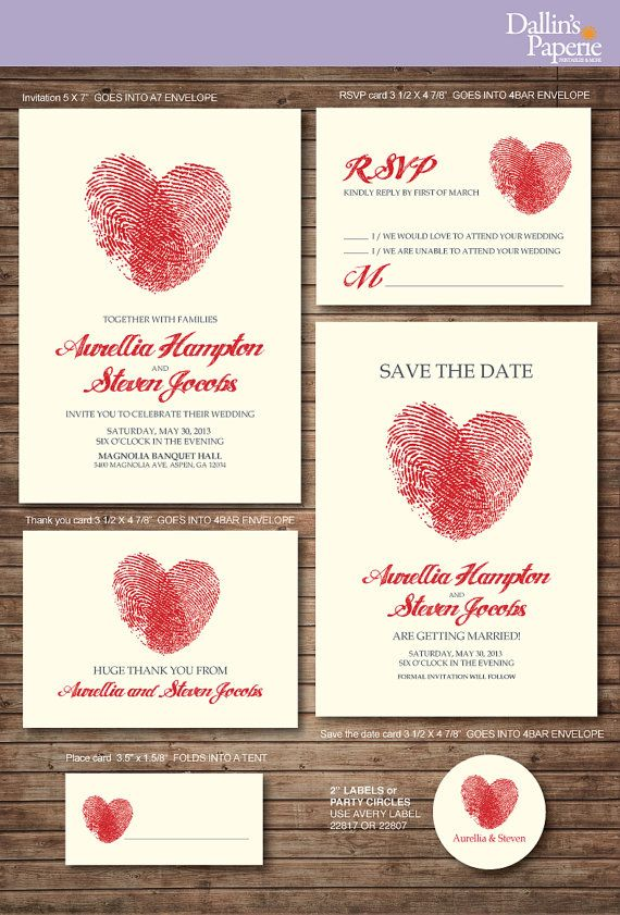 Wedding Invitation printables, FInger print Heart, Customized DIY, Thank you card, Save the date, RSVP, place card, envelope seal. I heart this simple, lovely design.