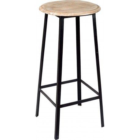 Vysoká stolička s dreveným sedadlom