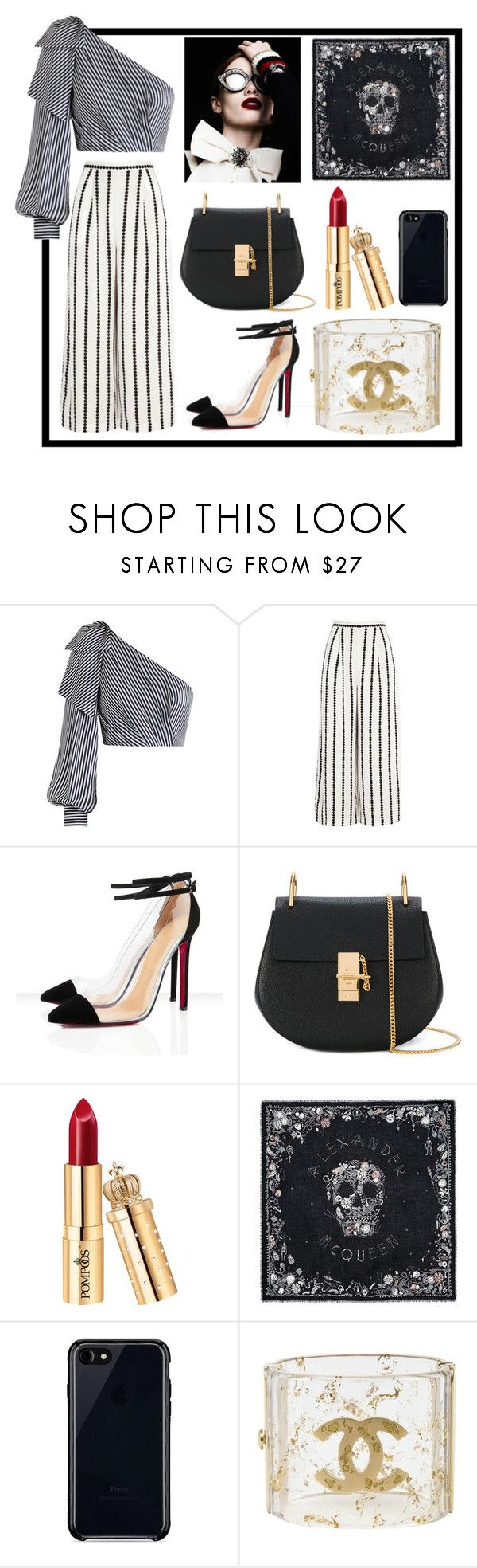 """""""stripes and stripes"""" by summerwind03 ❤ liked on Polyvore featuring Zimmermann, Finders Keepers, Chloé, Alexander McQueen, Belkin, Chanel, StreetStyle, stripedshirt, oneshoulder and StreetChic"""