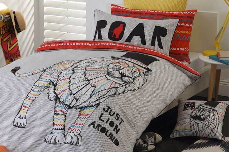 Bring the wild inside with this super cool Leo Orange Duvet Cover by Logan and Mason!