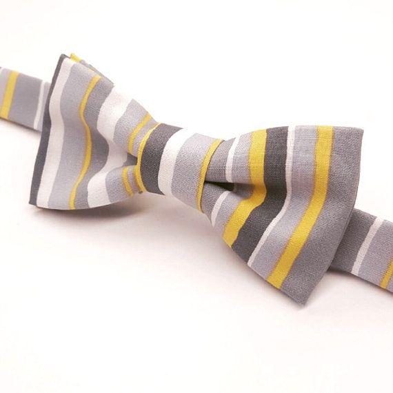 Grey & Yellow Bow tie,  Yellow and Grey wedding bow tie,  by FlyTiesforFlyGuys