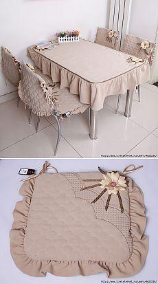 Сшить скатерть и чехлы на стулья (кухня,столовая).