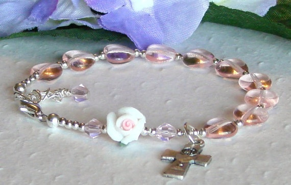 Girls First communion Rosary Bracelet by HeavenlyHandsMade on Etsy, $15.00  Made 1/27/2011