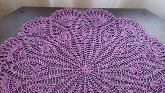 Purple crochet doily, bright lace, decor vases, gift for girls, Central napkin, napkin purple, cotton lilac,