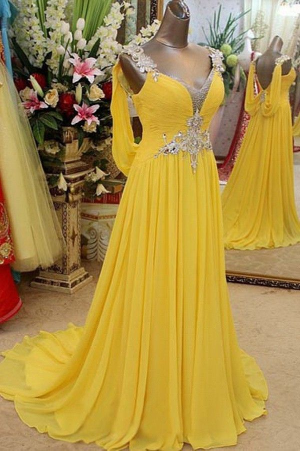 Low Prices Chiffon Sequins Daffodil Prom Dress Backless Cassie08091