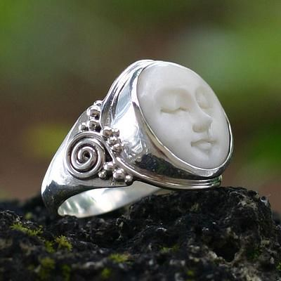 Cow bone ring, 'Face of the Moon'. Shop from #UNICEFMarket and help save the lives of children around the world.