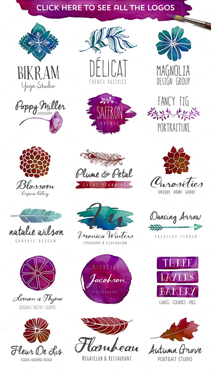 Not only do I like some of these logo ideas for you, but this is the second coloring option. Ditch the yellow and do a deep red, royal purple, and aqua/teal.