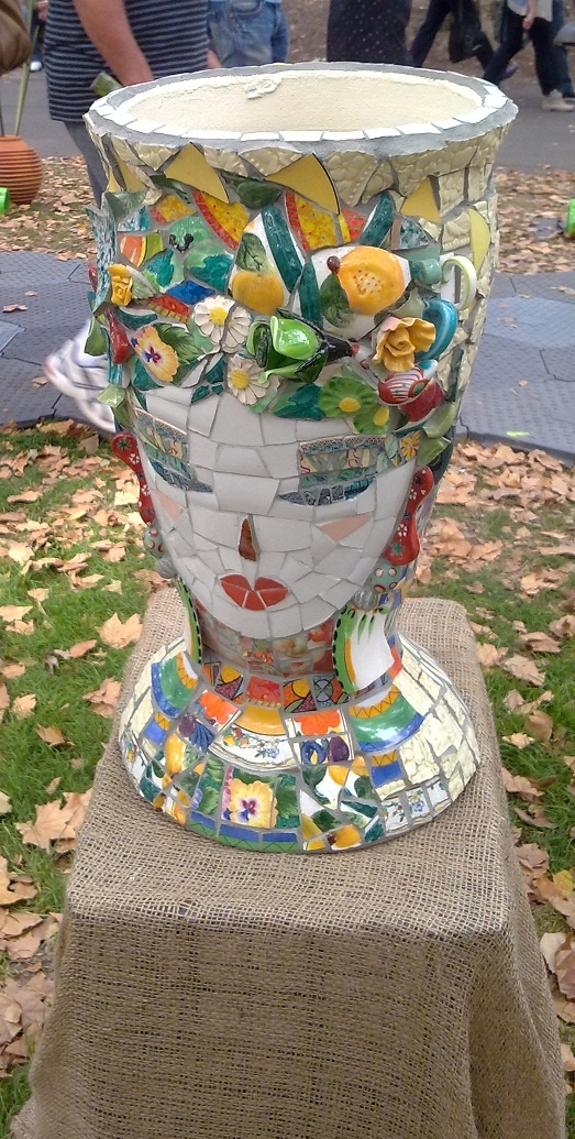 Beautiful mosaic urn. I don't know who the artist is. Melbourne garden show, 2012.