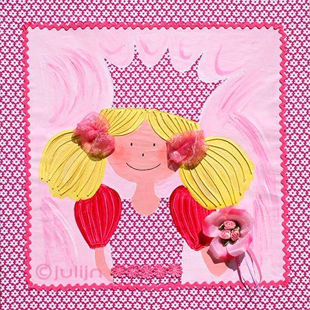 Sabine is geschilderd op stof. Ze heeft een jurk van de zelfde stof als het schilderijen. Schilderij kan op maat gemaakt worden, kijk op www.julijn.nl