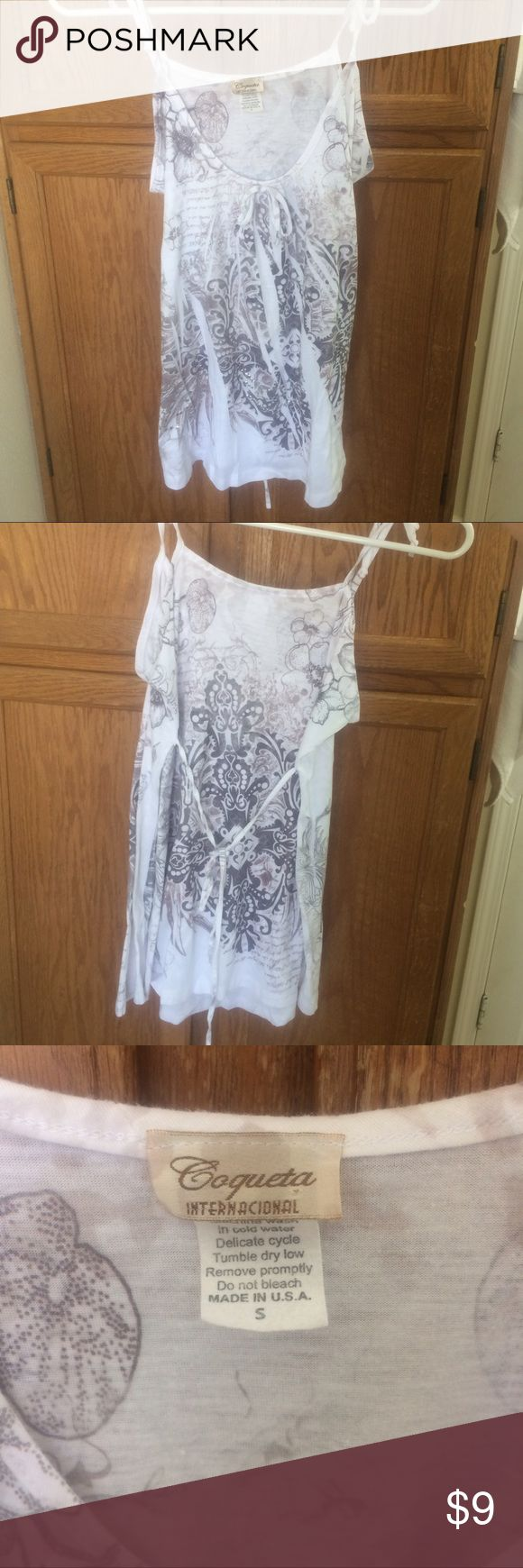 Coqueta Internacional White strappy top White strappy top. Size small. Made in the U.S.A No stains in good condition. coquet internacional Tops Camisoles