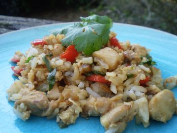 This is a great use of leftover rice. Its important to use Thai sweet basil to get the authentic Thai restaurant taste. And dont skip the fish sauce, it smells strong in the bottle, but it blends in nicely with the other ingredients when its all put together. Also, make sure you use chilled rice, or youll end up with mush.