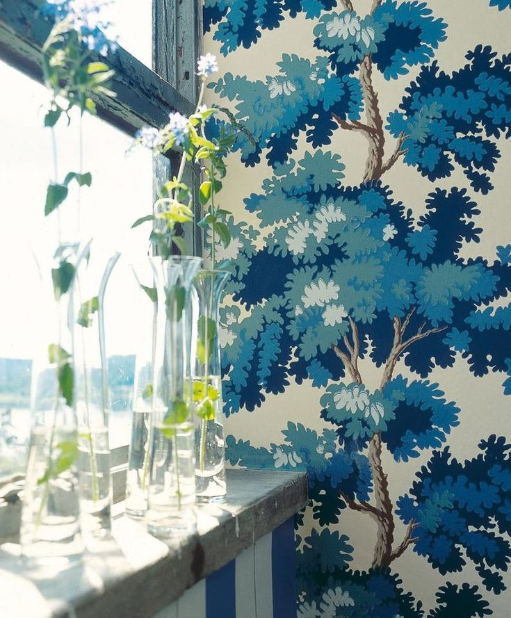 Forest wallpaper Scalamandre Sandberg Raphael Dark Blue