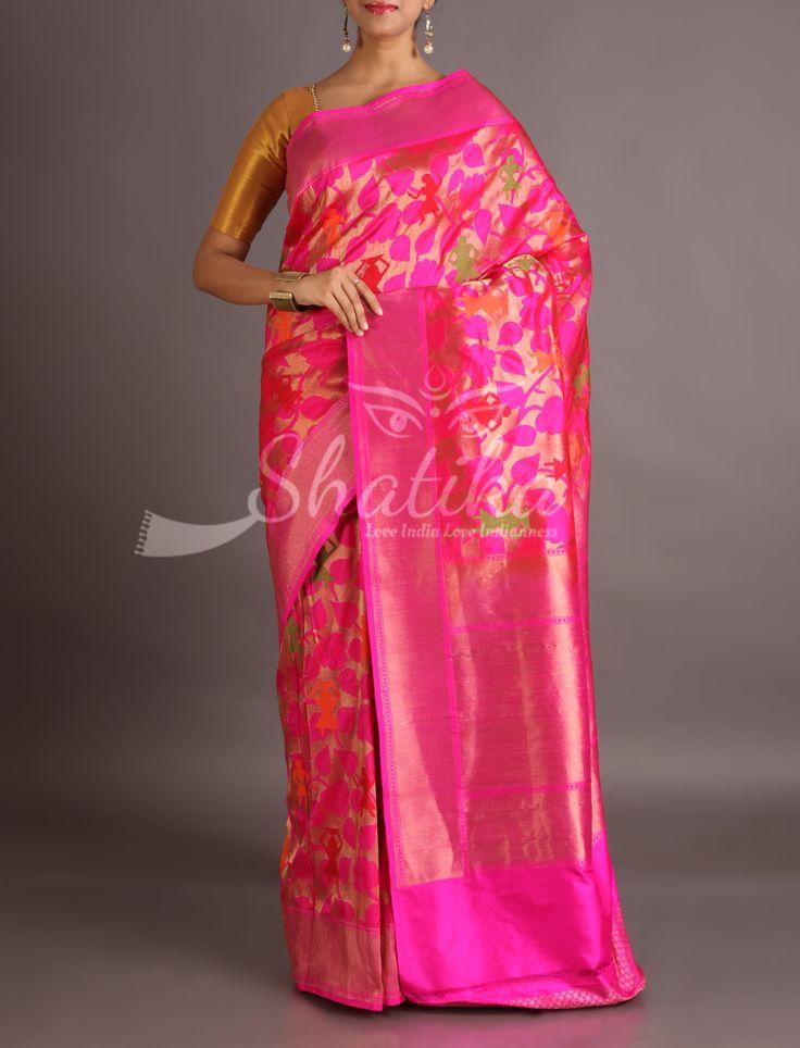 Sonali Human Figurine Top Up On Blooming Pink Banarasi Brocade Silk Saree