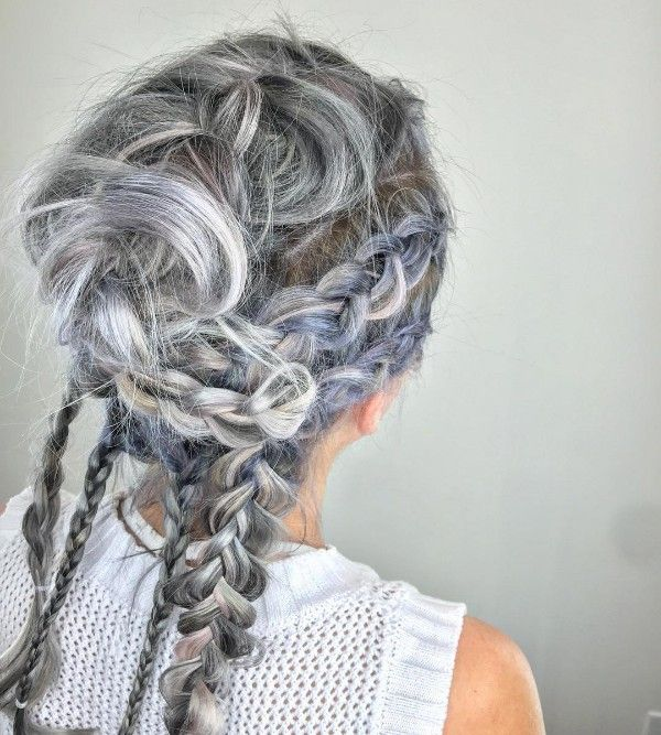 pastel purple and gray highlights
