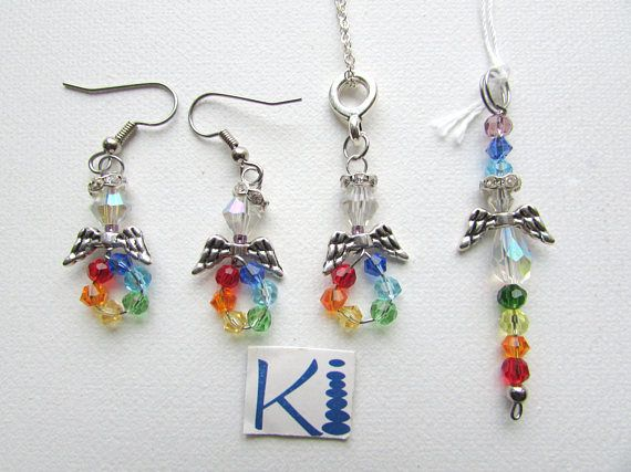 Chakra Angel Crystal Pendant or Earrings Rainbow