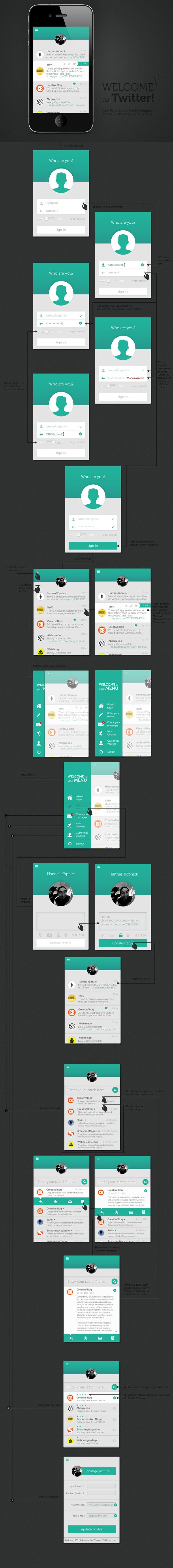 Redesign Twitter App by Graphek , via Behance