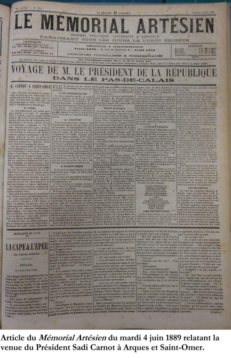 """Visite du président relatée dans le """"Mémorial Artésien"""" du 4 juin 1889."""