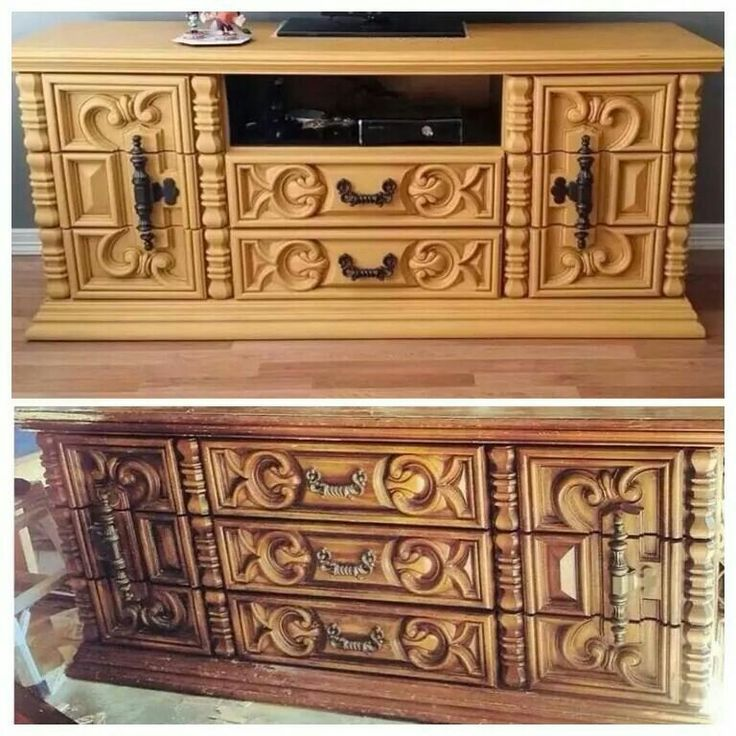 Best Chunky Ornate Vintage Dresser Turned Into A Media Center 400 x 300