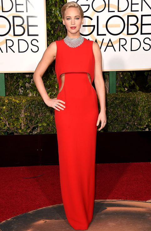 Jennifer Lawrence in a red cutout Dior dress - click through for more best dressed at the 2016 Golden Globes!