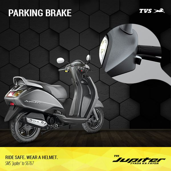 Park with ease even on slopes with the TVS Jupiter.