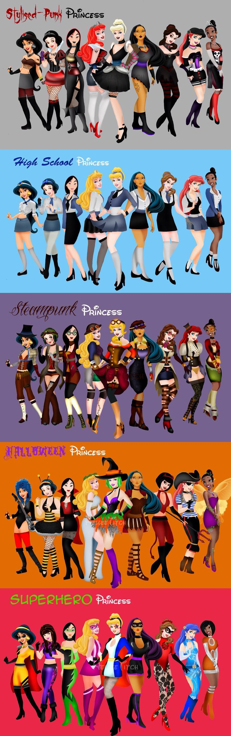 Stylised-Punk, High School, Steampunk, Halloween, and Superhero Disney Princesses by HelleeTitch on deviantART >>> I LOVE belle's superhero costume!