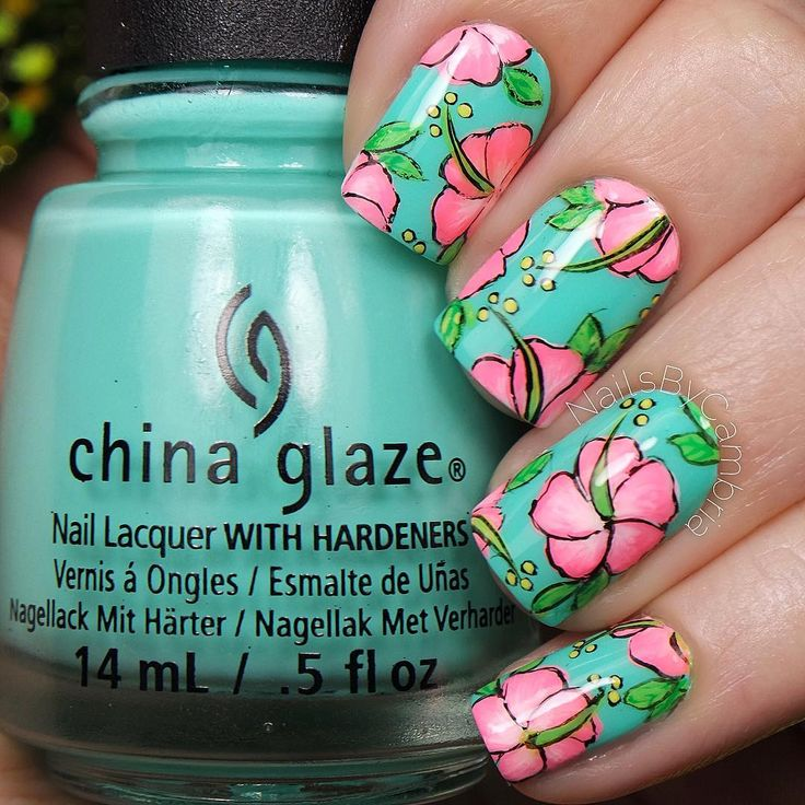 Tropical Hibiscus Nail Art