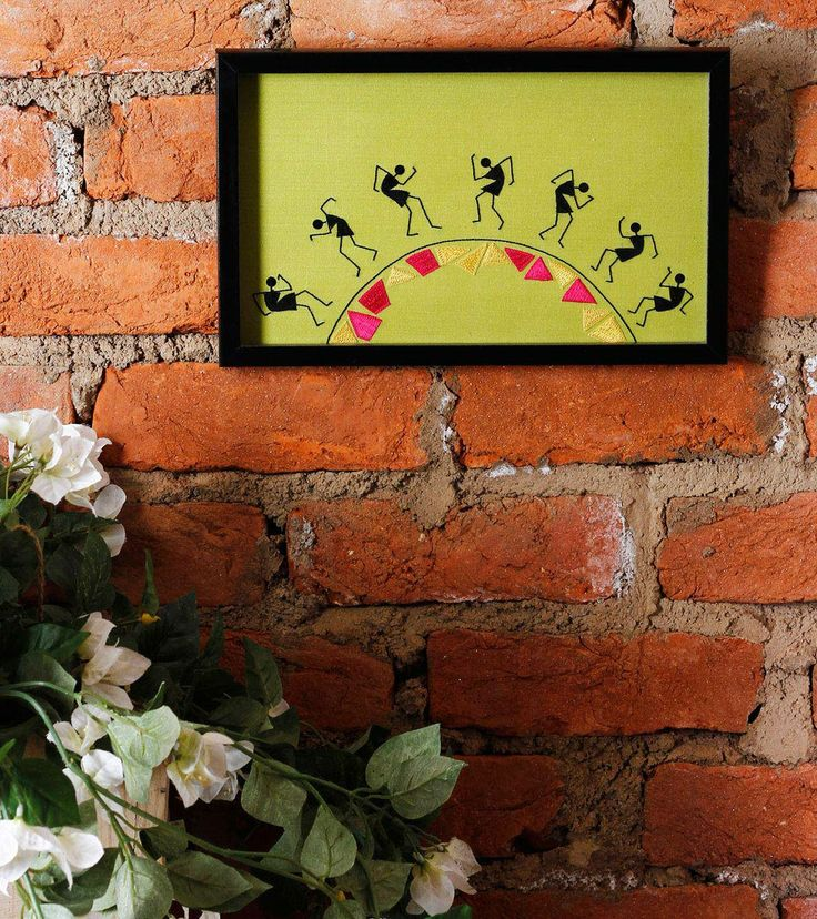 Lime Hand Embroidered Warli Painting