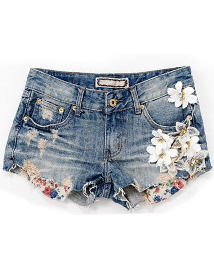 denim shorts is colored with flowers on the side of the right bag is cold and there are short and medium sizes guys is very nice and is from France and has a cost of 150 dollars