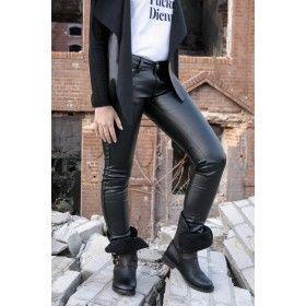 Pantaloni damă negri Simple piele mată