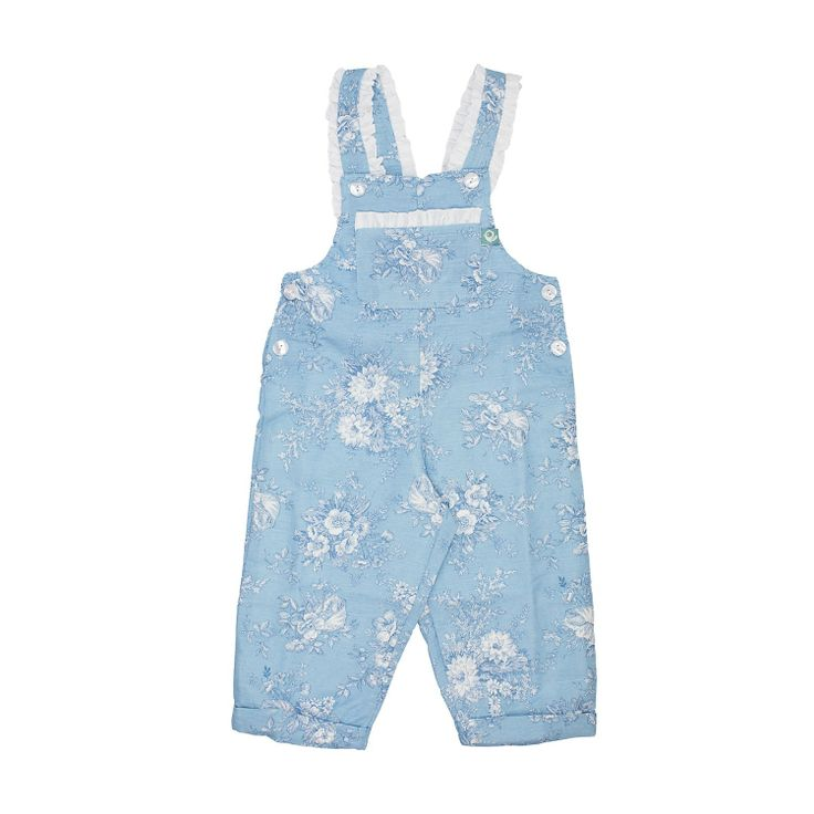 Blue Linen Jumpsuit These jumpsuits are so cute and at the same time so confortable. Full of adorable details, little ruffle on the straps and big bow at the back. Have a look at all the lovely patterns available. Fully lined. 100% linen.
