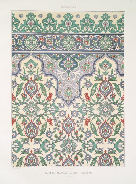 Arabesques : études de feuilles & de fleurons peints sur faïence (grandeur d'exécution) by Prisse d'Avennes (1807-1879)