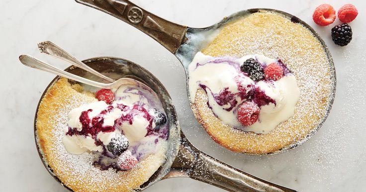 Tender vanilla bean cake with vanilla sauce.