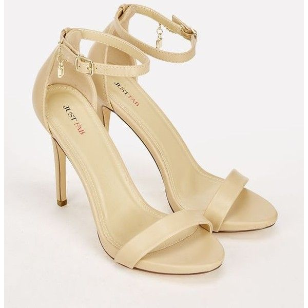 Justfab Heeled Sandals Catherina (51 CAD) ❤ liked on Polyvore featuring shoes, sandals, beige, platform sandals, ankle strap platform sandals, open toe sandals, open toe platform sandals and heeled sandals