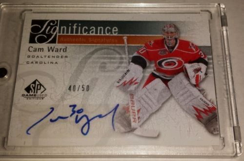 2011-12 UD SP Game Used Cam Ward Authentic Signatures /50 in Sports Mem, Cards & Fan Shop | eBay